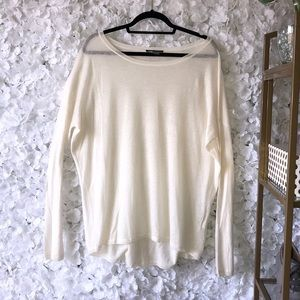 Vince Ivory Light-Weight Wool/Cashmere Sweater
